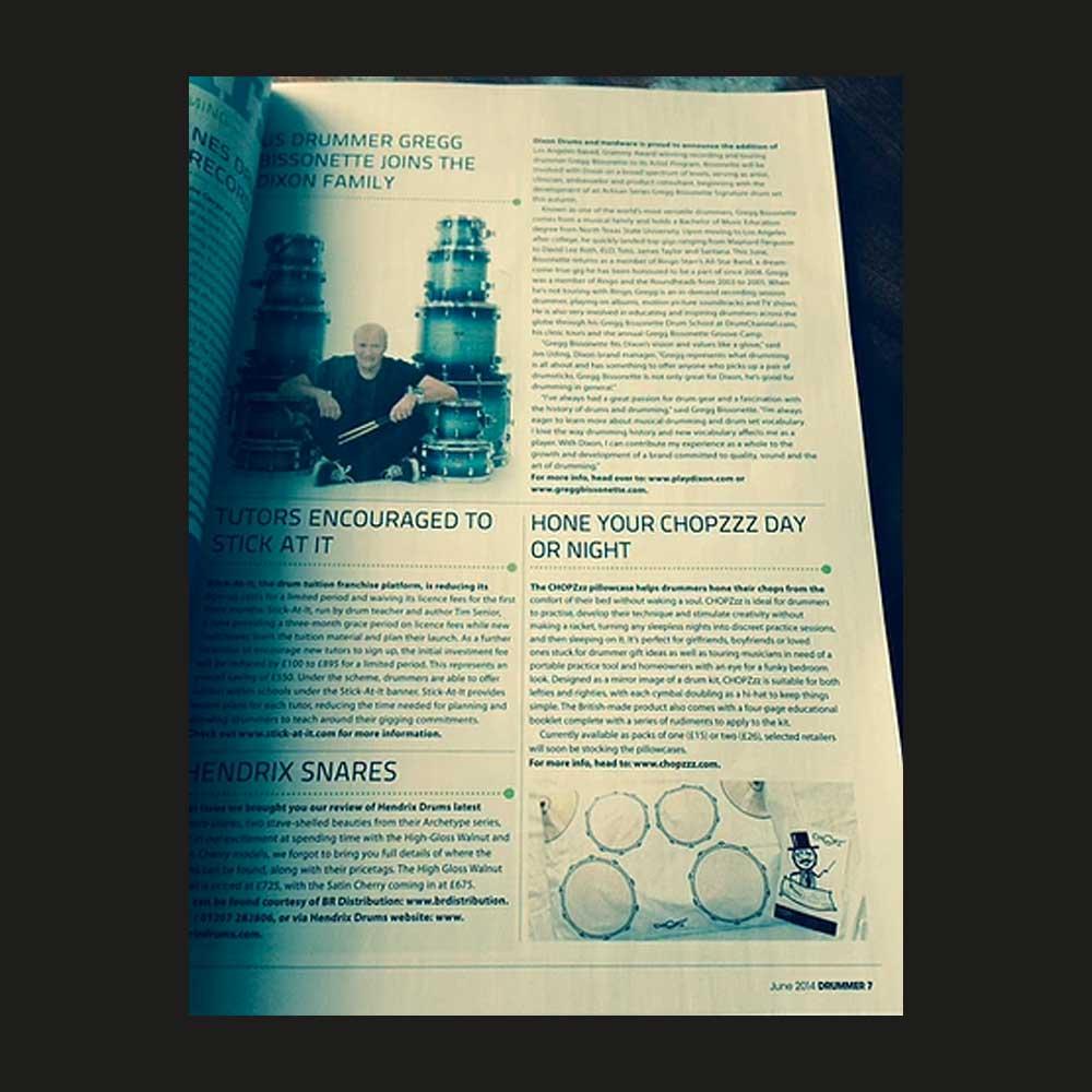 Drummer Magazine - CHOPZzz PiIlowcase gift for drummers