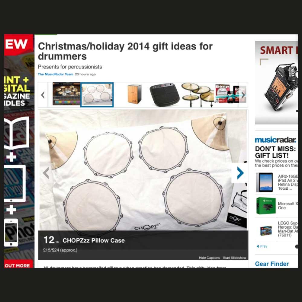 Music Radar - CHOPZzz PiIlowcase gift for drummers