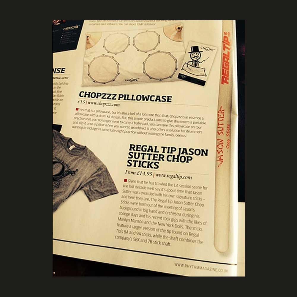 Rhythm Magazine - CHOPZzz PiIlowcase gift for drummers